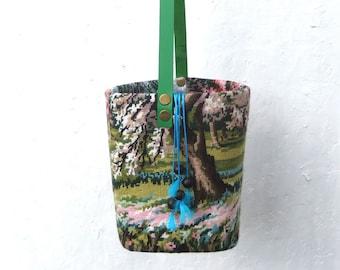 Tapestry Needlepoint Bucket Bag, French Basket, Landscape, Floral trees
