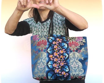 Tapestry Handbag with Vintage Needlepoint, Purple Violets, Floral Silk