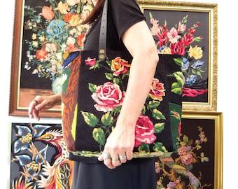 Tapestry Bag, Canvas Handbag Floral, Aubusson, Pink Roses