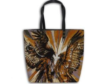 Tapestry Purse, Seventies Canvas Handbag 70's, Hawks, Raptors, Falcons