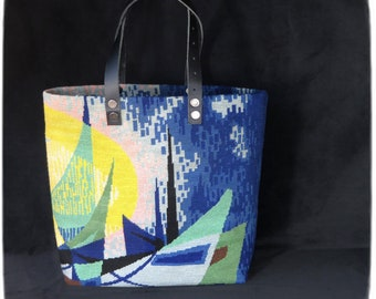 Tapestry Tote, Canvas Handbag, The Boats, Seventies Design