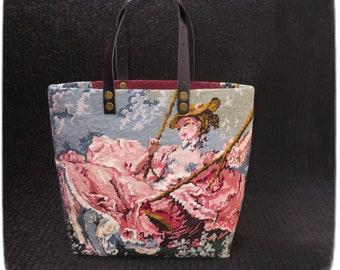 French Tapestry Purse, Canvas Handbag Fragonard, The Swing