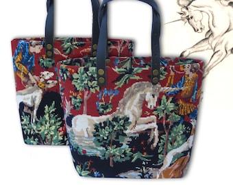 Tapestry Shopper Bag, Canvas Handbag Unicorn, Medieval Theme,