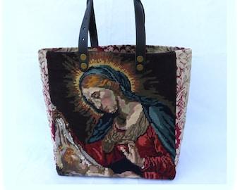 Tapestry Tote, Canvas Handbag Virgin Mary and Jesus baby, Christian Spirit, Religious