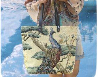 Tapestry Handbag Vintage Needlepoint Zen Asia, Blue peacock