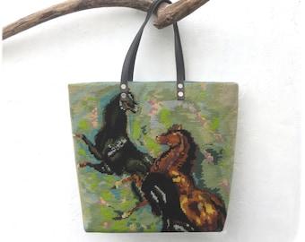 Needlepoint Shopping Bag, Tapestry Purse, Wild Horses, White Horse, Parietal Art