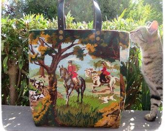 Needlepoint Tote, Handbag Equestrian Hunter, Deer Hunters, Horse Lovers
