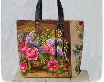 Tapestry Handbag with Vintage Needlepoint, Flowers, Lilac and Roses
