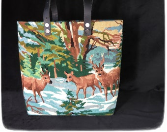 Needlepoint Shopping Bag, Tapestry Purse, Does, Wild Animals