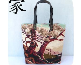 Tapestry Handbag Vintage Needlepoint, Woven bag, Travel bag, Dawn, Tree Lover