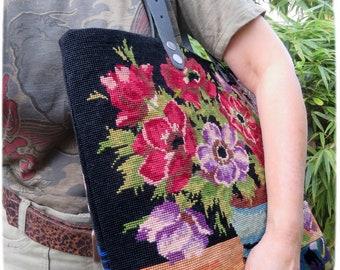 Tapestry Handbag with Vintage Needlepoint, Flowers, Anemones