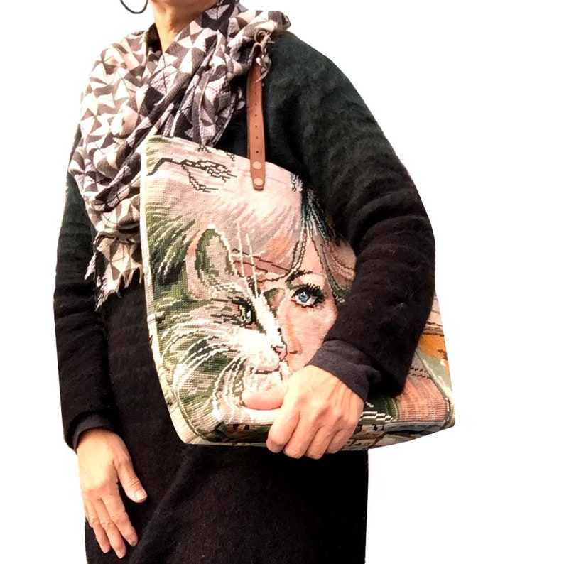 Tapestry Purse Vintage Needlepoint Cat Woman  image 0