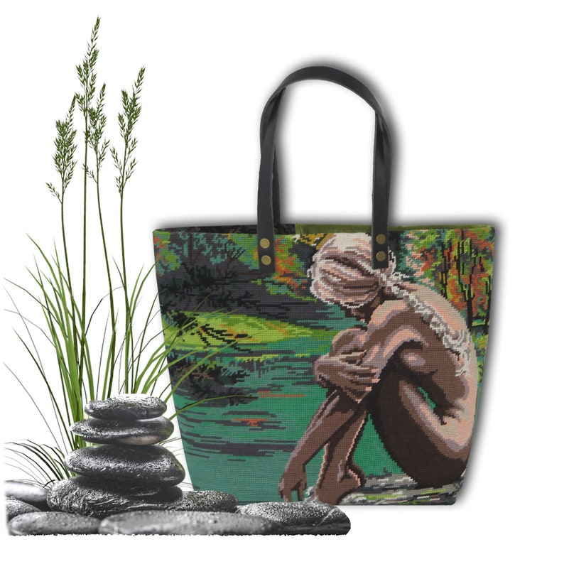 Tapestry Handbag with Vintage Needlepoint Young Girl Dream image 0