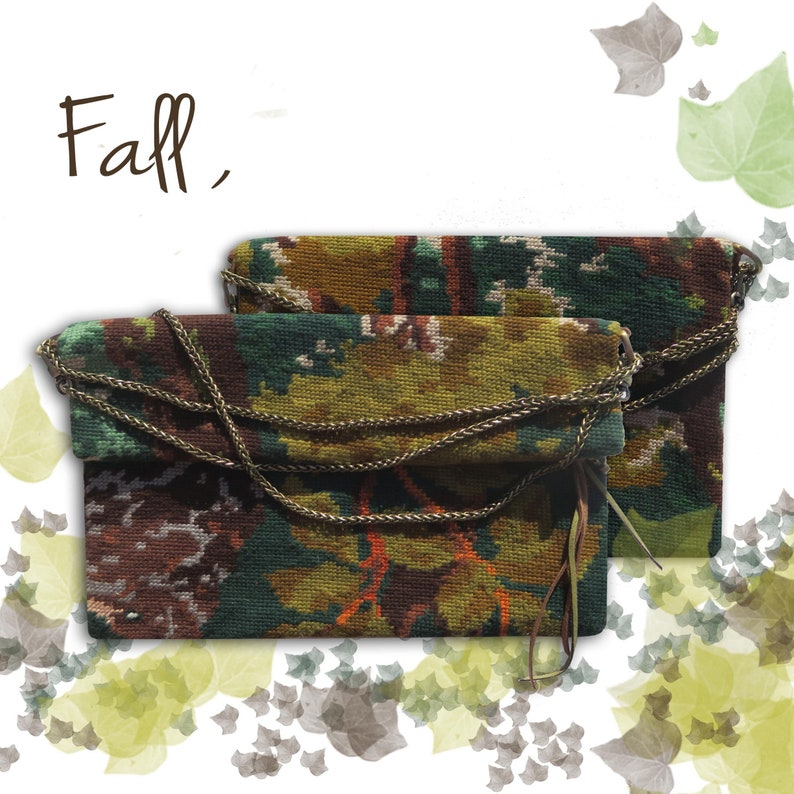 Canvas Fold over Crossbody Pouch Tapestry Woods image 0