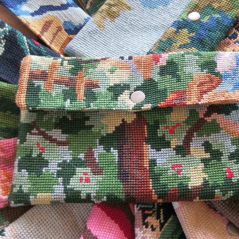 Tapestry Pouch with French Antique needlepoint Countryside image 0
