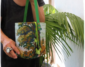 Tapestry Needlepoint Bucket Bag, Drum sized, Love temple, Woven Purse, Trees