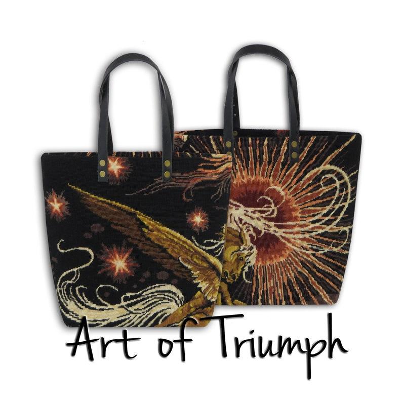Needlepoint Shopping Bag Tapestry Purse Pegasus Winged image 0