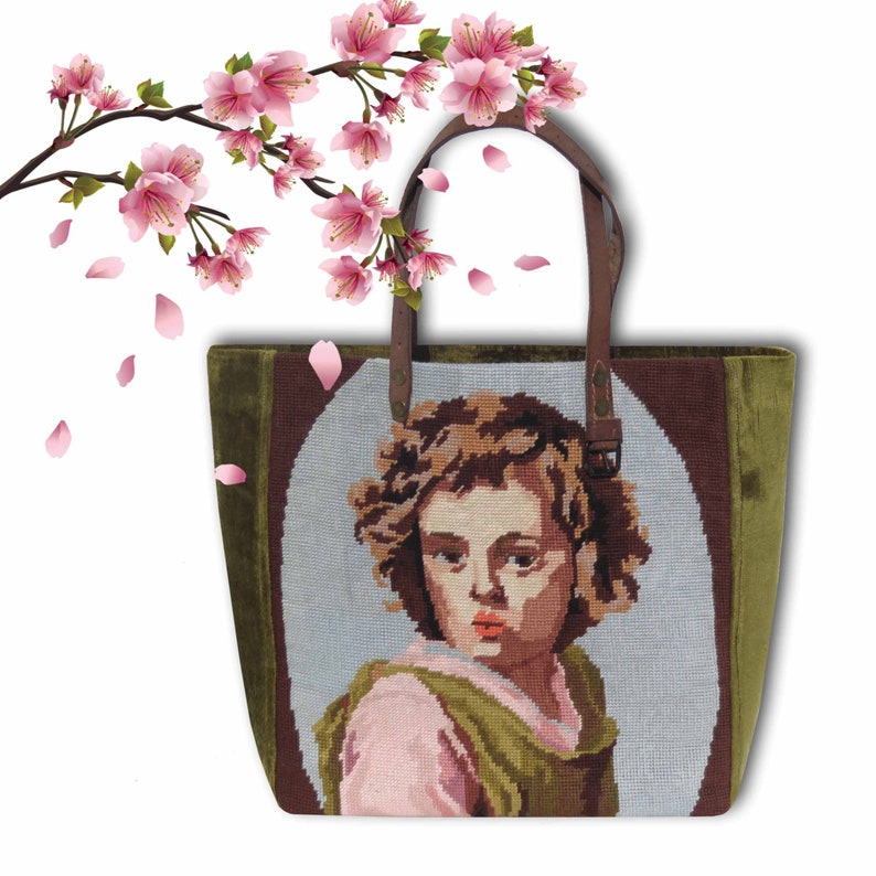 French Tote Tapestry Purse Canvas Handbag Young Shepherd  image 0