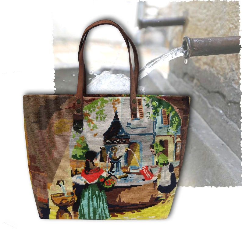 Tapestry Handbag with Vintage Needlepoint Village in image 0