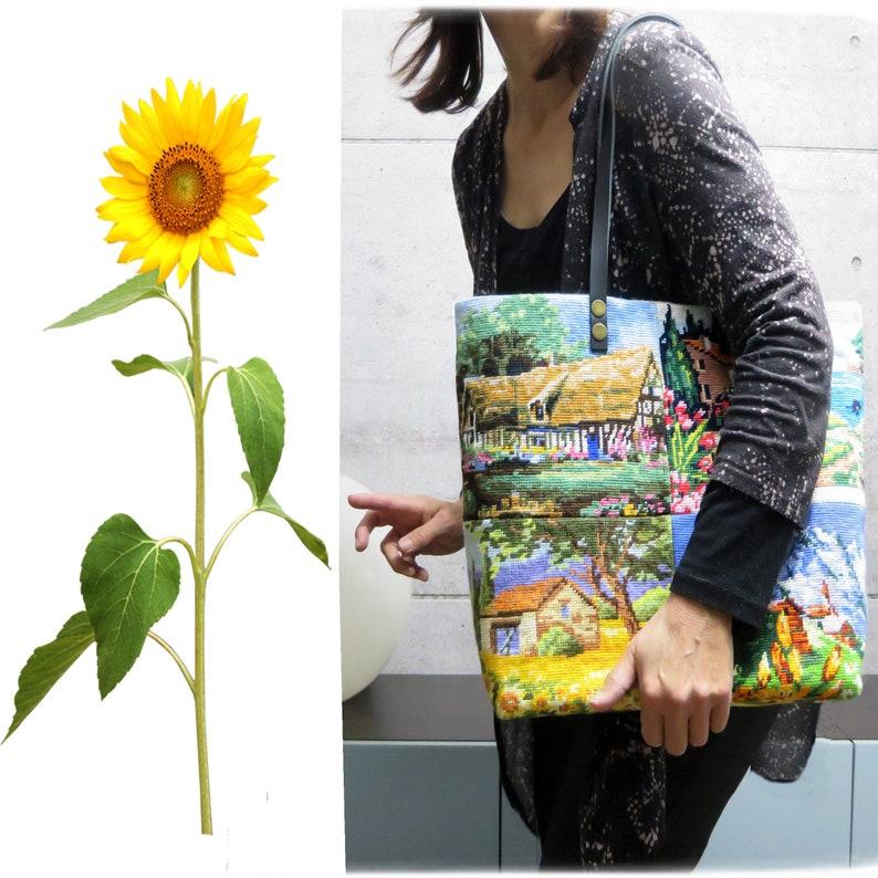 Tapestry Handbag with Vintage Needlepoint Provence image 0