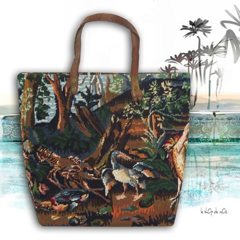 Needlepoint Tote Handbag Landscape Tapestry Birds Medieval image 0
