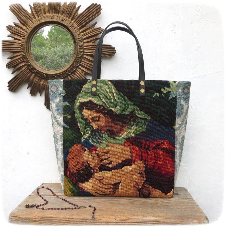 Tapestry Tote Canvas Handbag Virgin Mary and Jesus baby image 0