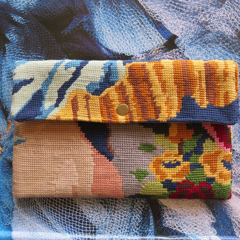Tapestry Pouch with French Antique needlepoint Carpet image 0