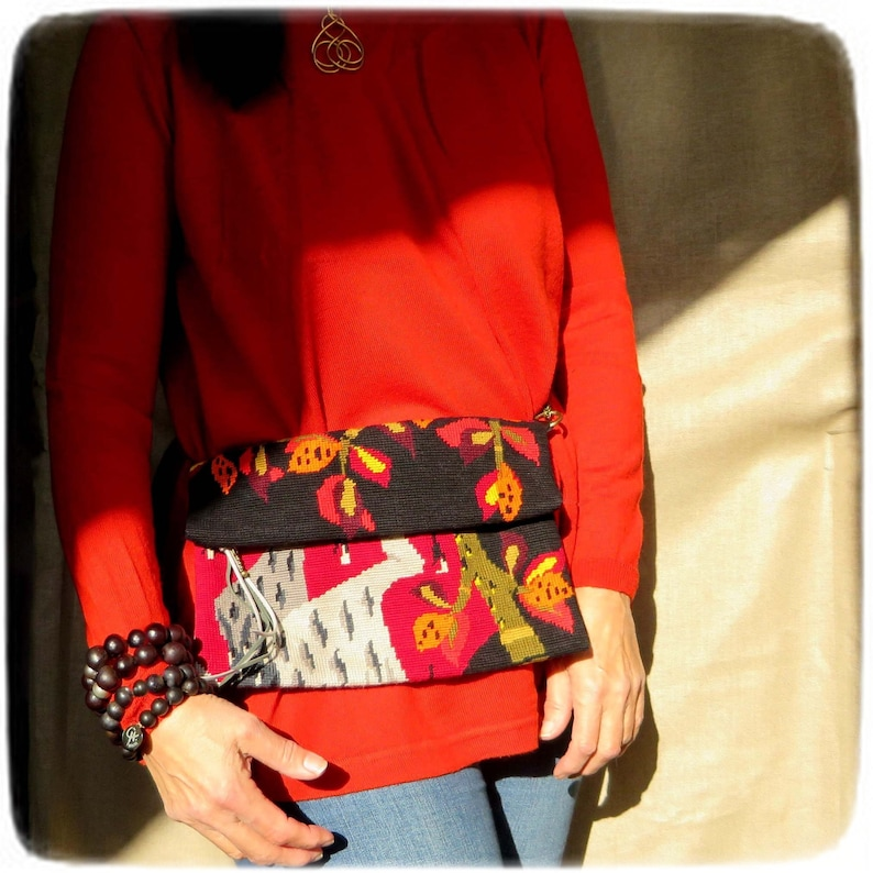Zipper Fold over Cross body Embroidery Convertible bag image 0