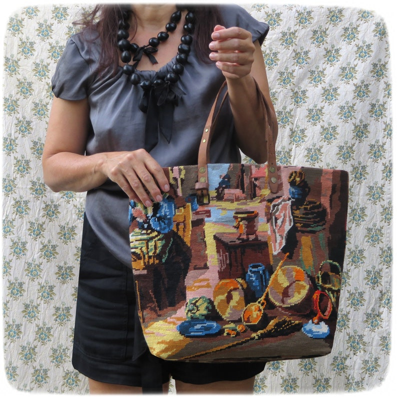 French Tapestry Purse Canvas Handbag Farmer scene from Le image 0