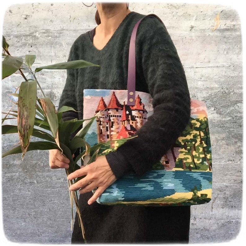 Tapestry Handbag with Vintage Needlepoint Provence image 0