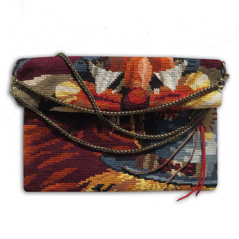 Canvas Fold over Crossbody Pouch Tapestry Clown image 0