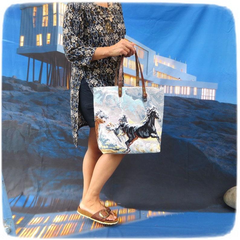 Needlepoint Shopping Bag Tapestry Purse Wild Horses White image 0