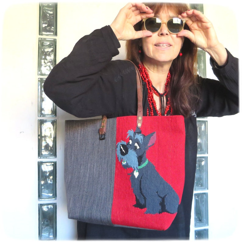 Tapestry Handbag with Vintage Needlepoint Lady and the Tramp image 0
