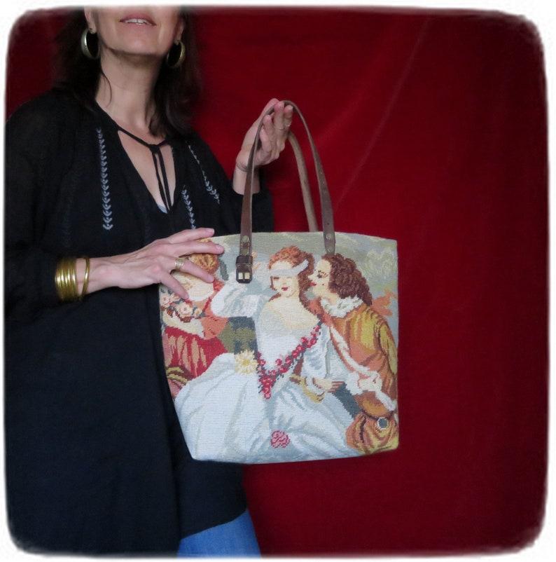 Needlepoint Tote Handbag French Design French Lover Scene image 0