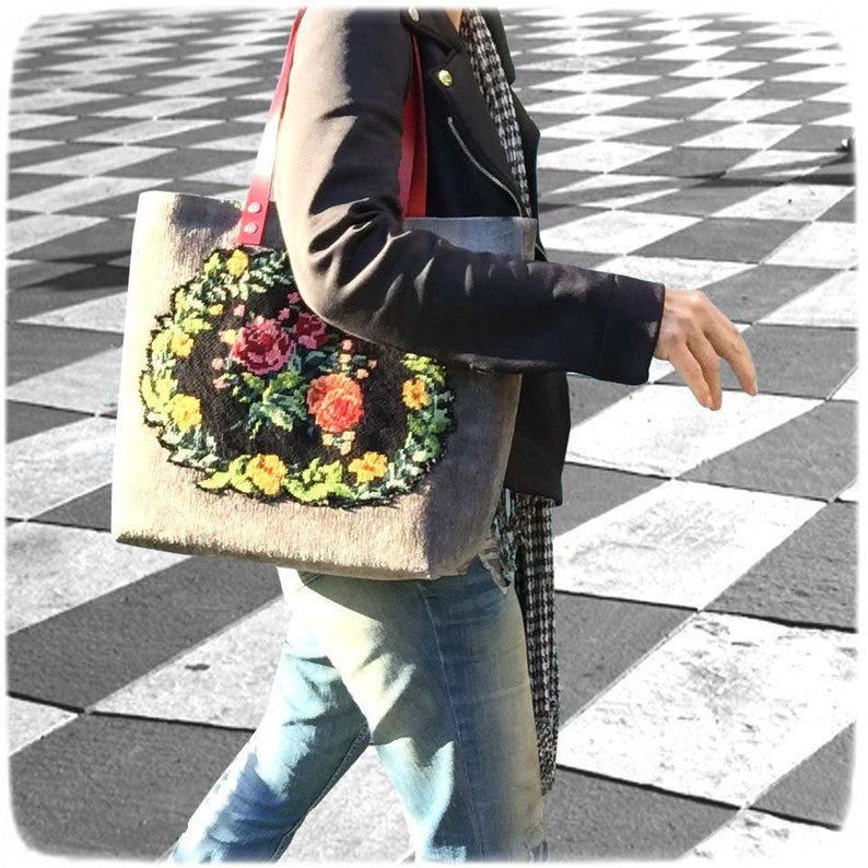Tapestry Handbag with Vintage Needlepoint Red Roses Grey image 0