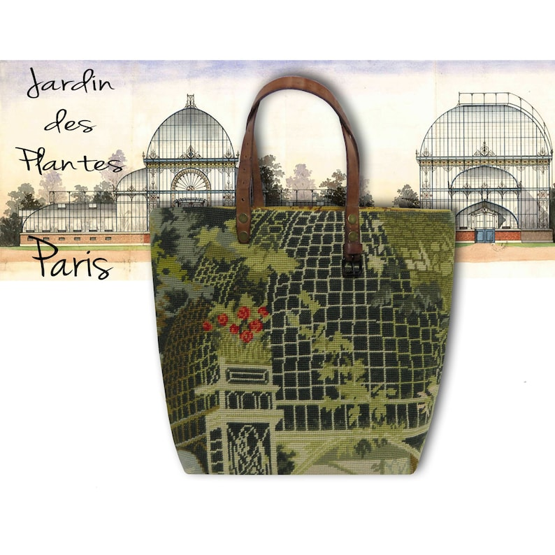 French Tapestry Purse Canvas Handbag Old Greenhouse image 0