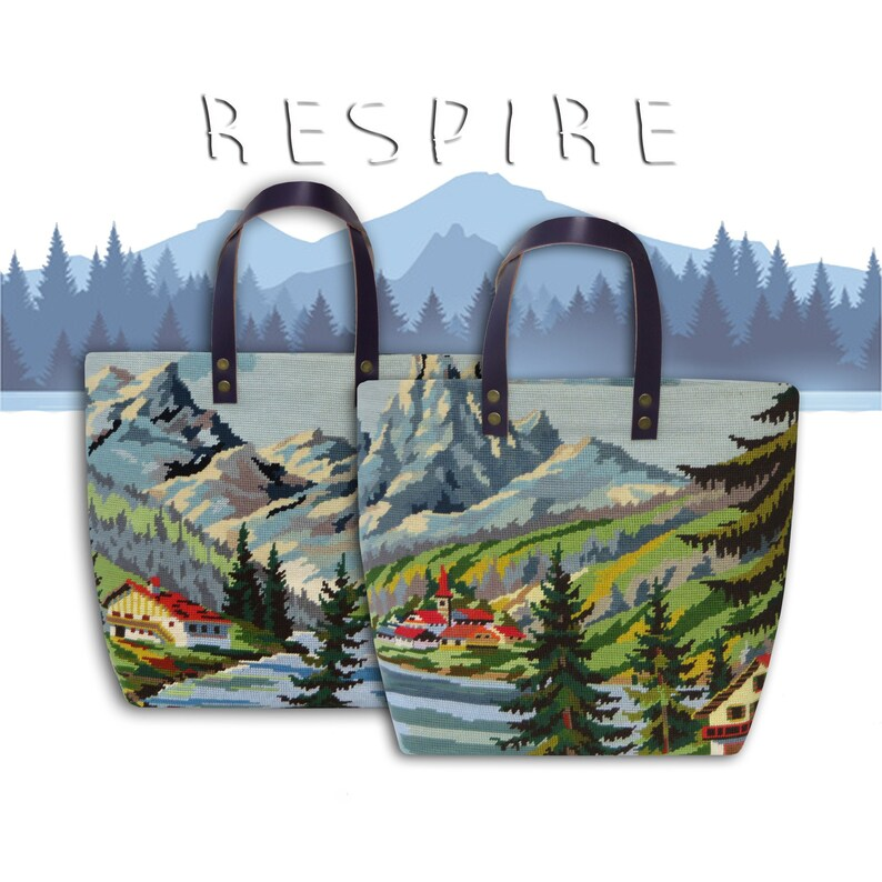 Tapestry Bag Canvas Handbag French Alps Mountains Wild image 0