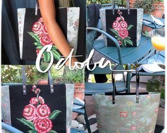 Tapestry Handbag with Vintage Needlepoint, Red Roses, Floral Silk