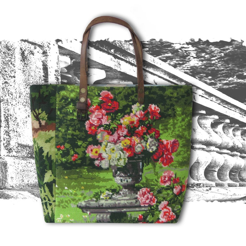 Tapestry Purse Canvas Handbag Floral Antique Needlepoint image 0
