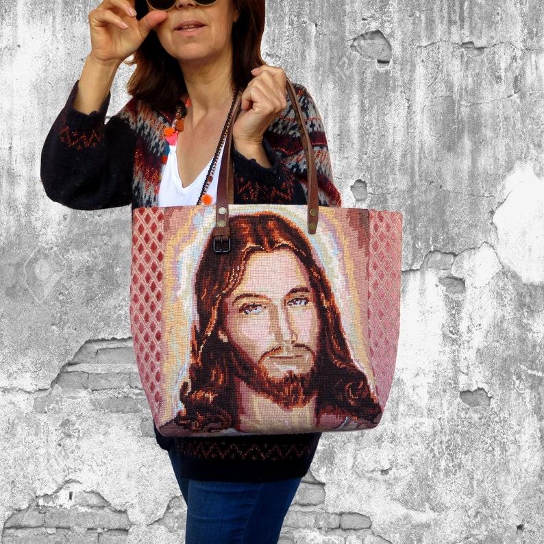 Tapestry Tote Needlepoint Handbag Jesus Christ Christians image 0