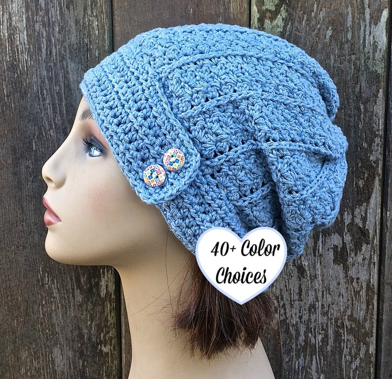 76debacb612 Soft Cotton Slouch Hat with Buttons Summer Slouchy Cotton