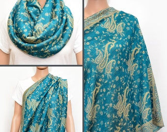Blue Infinity nursing cover scarf with paisley floral pattern,Nursing Cover, Nursing Scarf, Nursing scarf cover, Infinity scarf