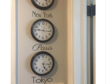 Time Zone Decal - City Names Decal - City Names for Clocks - Bucket List - Favorite Cities - Favorite City Time Zones - DIY Time Zone Clocks