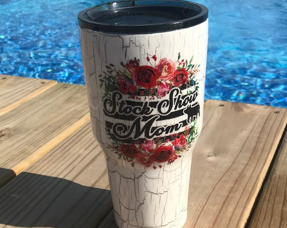 Stock Show Mom design on White Crackle Tumbler