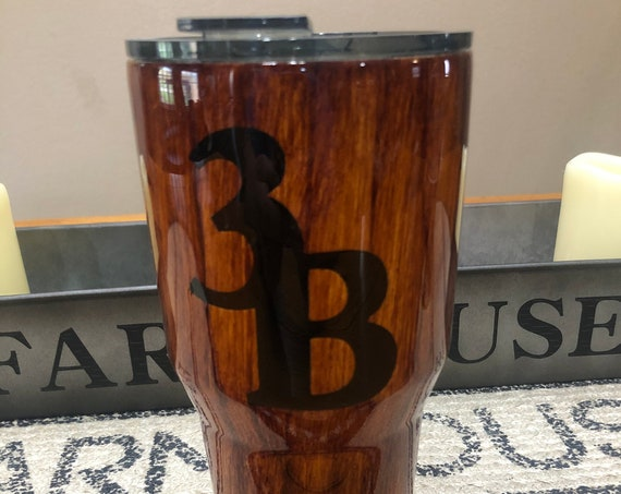 Wood Grain design on White Crackle Tumbler