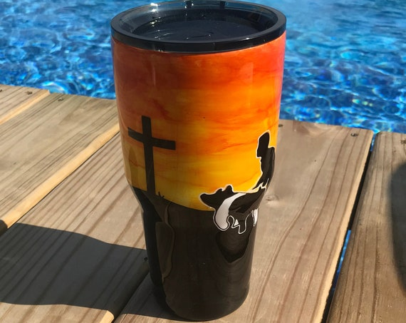 Orange Sunset with Pig/Cross Tumbler
