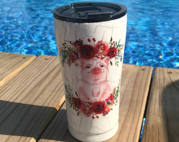 Cute pig with flower design on White Crackle Tumbler