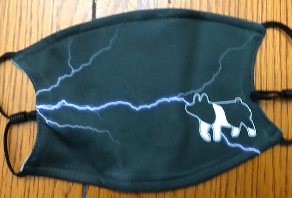 Small/youth black lightning digital camo livestock show mask
