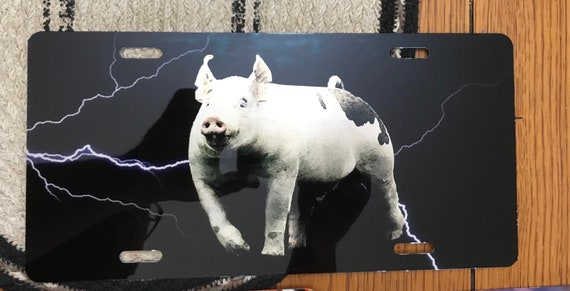 Lightning background pig car tag