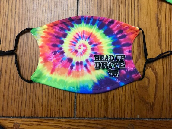 Large tye dye Head up and Drive  livestock show mask